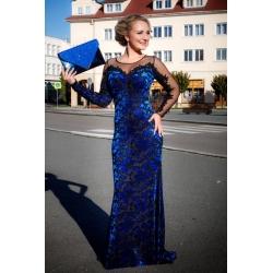 Dlouhé královsky modré šaty LONDON