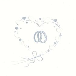Svatební ubrousky -snubní prsteny v srdci