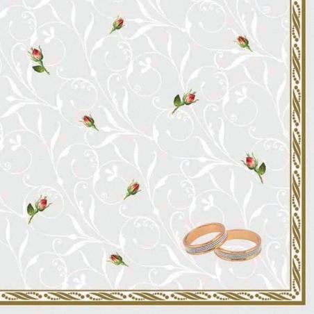 Svatební ubrousky - snubní prsteny a poupata růží