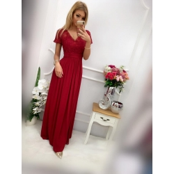 Dlouhé vínové šaty MARIKA