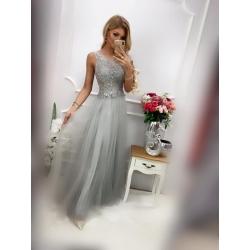 Dlouhé šedé šaty VIVIEN