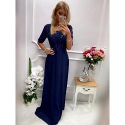 Dlouhé tmavě modré šaty BELINDA