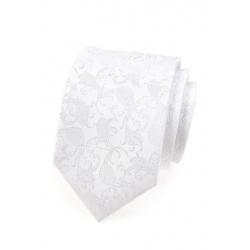 Bílá kravata s lesklým květovaným vzorem + kapesníček