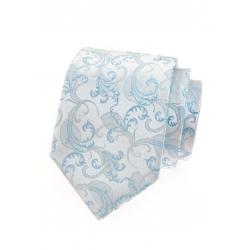 Svatební modrá pánská kravata se stříbrným vzorem + kapesníček