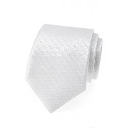 Svatební bílá pánská kravata se stříbrným vzorem