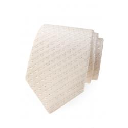 Svatební smetanová pánská kravata s lesklým vzorem + kapesníček