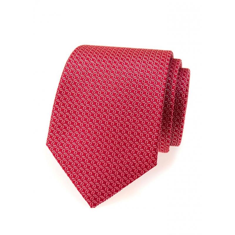 Červená pánská kravata se stříbrným vzorem