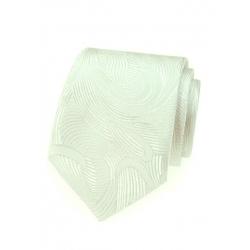 Svatební smetanová pánská kravata s lesklým vzorem + kasníček