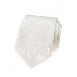 Svatební bílá pánská kravata s lesklým vzorem + kasníček
