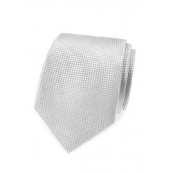 Svatební šedá pánská kravata s lesklým vzorem + kasníček