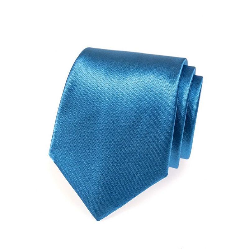Modrá pánská kravata ze saténu