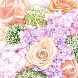 Svatební ubrousky - letní květy v lososové + pastelové barvy