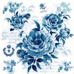 Svatební ubrousky - romantický květ modrý