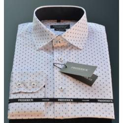 Pánská košile bílá se vzorem DOMINIK