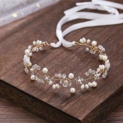 Svatební věneček s perlami, zirkony a kytičkou-bílá/zlatá