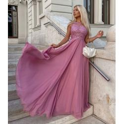 Dlouhé fialovorůžové šaty Brigitt