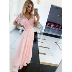 Dlouhé růžové šaty SHARLOTE