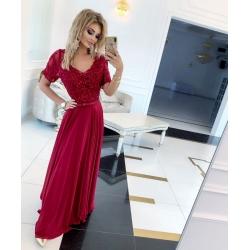 Dlouhé vínové šaty SHARLOTE