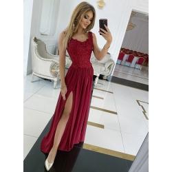 Dlouhé vínové šaty Irma