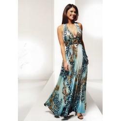 Dlouhé modré šaty ATHENY se vzory